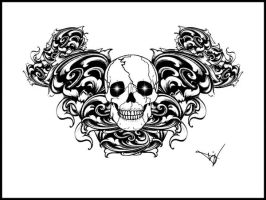 Gothic Skull Filigree tattoo by Quicksilverfury