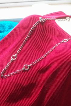 Necklace Chain Link Lariat with rose crystal clasp by hottyblond2000