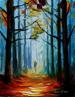 Forest fog by Leonid Afremov by Leonidafremov