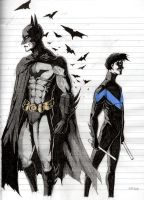 Batman and Nightwing sketch by kjlbs