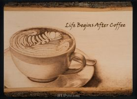 Coffee cup - Handcrafted woodburning by brandojones