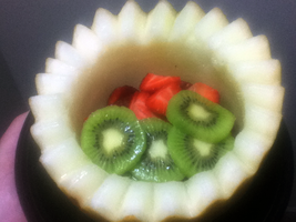 Canary Melon Fruit Bowl w/ Strawberries and Kiwi by FearOfTheBlackWolf