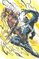 Carnage vs.Venom Gouache Art by 777thorman