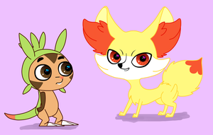 LPS Chespin and Fennekin by LucySpicyStrawberry