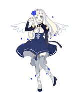 Blue and White Winged Girl by Torttle