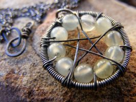 Jade Wire-Wrapped Pentacle by MoonLitCreations