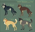 Adoptables: Wolves I (SOLD) by kickingrabbit