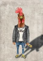 Punk Chicken (color version) by barruf