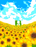 Vriska and John in a field of sunflowers by Fynmorph