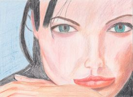 WIP untouched colored pencil of Angelina Jolie by bwall49
