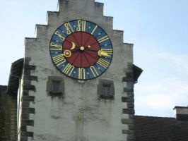 Colorful town clock by racehorse87-stock