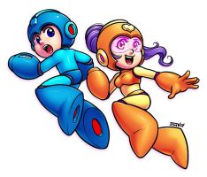 Mega Man and Mega Girl by Kaigetsudo