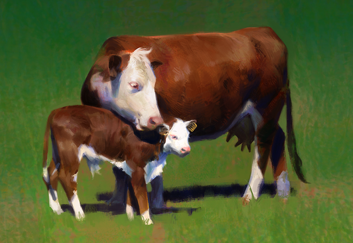 Cow and cowlet by iZonbi