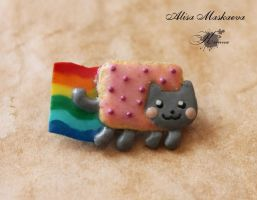 Nyan cat from polymer clay by Krinna