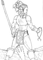 Orc Huntress inked by BigwaveDave