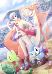 Trainer NEO, Treecko, Piplup, and Mega Charizard Y by neotwenty1