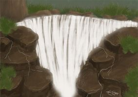Speedpaint:Waterfall rocks by dotfreya