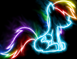 Sitting Neon Rainbow Dash by GravityTHunder
