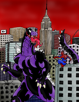 VENOM-ZILLA vs SPIDER-MAN by Jougeroth