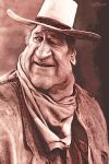 John Wayne by wooden-horse