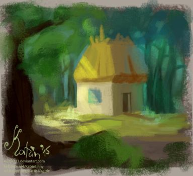 Forest hut by Katrintinny