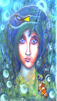 Aqua Child - Watercolor - Acrylic - Painting by lyssagal