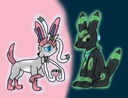OC Sylveon meets OC Umbreon by aPAULo17