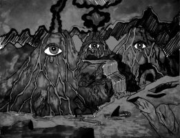 Volcanoes are crying....Black and white version by Nevelyne