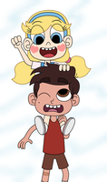 Little Star and Marco playing a piggyback by Deaf-Machbot