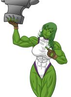 She Hulk and the anvil by UZOMISTUDIO