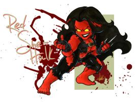 Red She-Hulk Chibi by Marker-Mistress