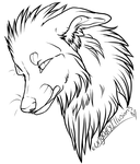 Free canine bust lineart. by UngodlyIllusions