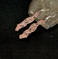 Homotherium Etched Copper Earrings by Gardi89