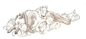 Tybil with Puppies by rhiow