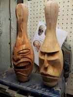 Bowling Pin Tiki and Moai by jbensch