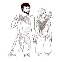 Fenris/Hawke [modified outfits] by OpalLight