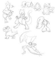 Pokemon sketch dump by LeatherRuffian