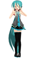 MMD Model DL - Sleeveless Ponytail Miku by MissButtler