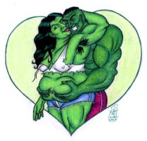 He- and She-Hulk by LimeGreenSquid