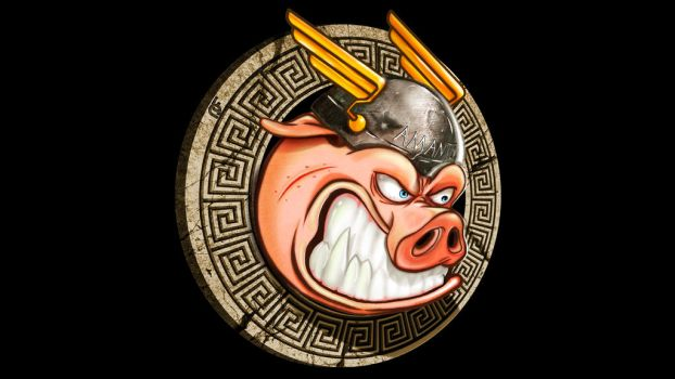 spartan pig mascotte by LalasMilla