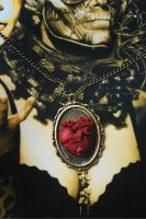 Polymer Clay Anatomical Heart Necklace by DarkPartOfCarrot