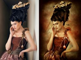 SteamPunk Queen Before After by Kryseis-Art