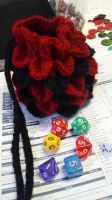 Red and Black Dragon Scale Bag by HappyPenguinArt