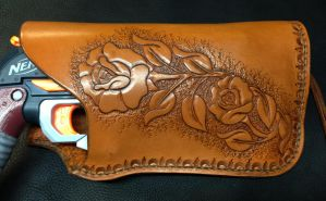 Western Styled Nerf Gun Holster - Closeup by SonsOfPlunderLeather
