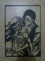 [PaperCut] Kuroshitsuji - Lady Ciel and Mr.Sebby by BlackMoonBell