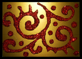 Red Glitter On Gold ACEO 40 by Siobhan68