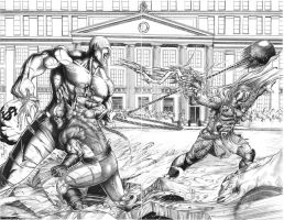 absorbing man vs thor and wolvi by ashkel