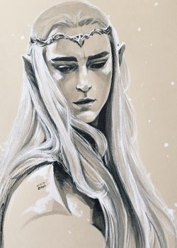 Thranduil with snow by evankart