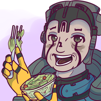 Alad V Laughing Alone While Eating Salad by BlazingCobalt