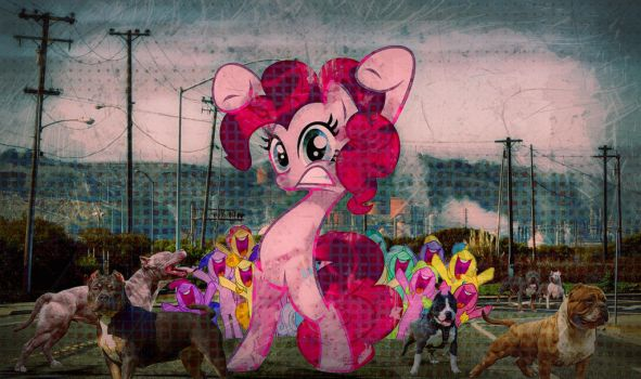 Pit Bulls and Pinkie Pie grunge by hyenawoman